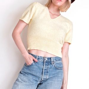 Vintage 90s pastel yelllow cropped knit v neck